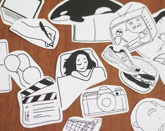 Diary Sticker Set, Doodle Addict – Cute Bullet Journal Decoration