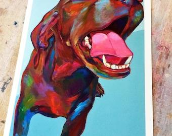 Colorful Vizsla Dog Art Print by Artist Robert Phelps