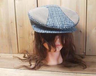 Vintage flatcap newsboy cap blue grey Krystal cap Made in Canada Union Made 50s Houndstooth Pattern All Sizer Toronto, Canada
