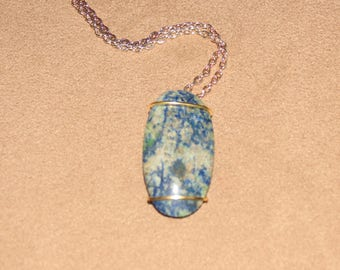 315 Single wire gold oblong sodalite with inclusions