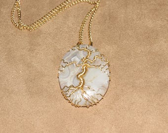 332 Gold tree of life crazy lace agate