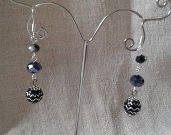 "Earrings ""marriage of the silver and black"""