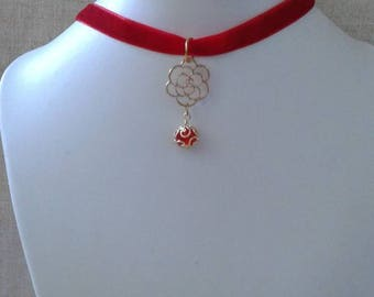 """Red Ribbon and Golden Flower"" Choker necklace"