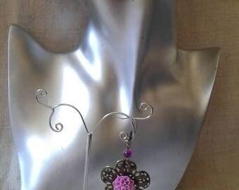 bronze and purple flower earrings