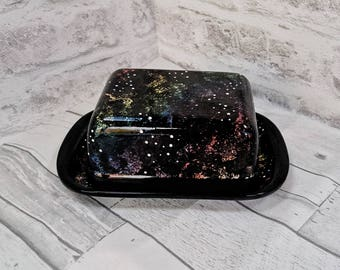 Galaxy Butter Dish, Space Dome Design, Astronomy Ceramic Gift, Kitchen Food Storage, Milky Way Present, Serving Plate, Weird and Wonderful