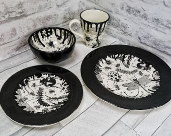 Unique dinner set, Hand Painted, 4 Piece, Bug Dinner plates, beetle ladybird fly, caterpilar spider butterfly, gothic ceramics