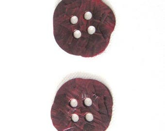Burgundy enameled metal buttons