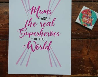 Superhero Inspired//Mothers Day//Mothers//Made to Order//Print//personalise//Superhero//Super Mum