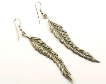 Vintage Large Feather Design Drop/Dangle Earrings 925 Sterling ER 449
