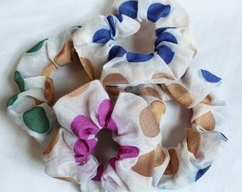 Golden Polka Dot Hair Scrunchies, Hair Ties, Gentle Hair Elastic, Hair Accessories and Handmade Favors or Gifts