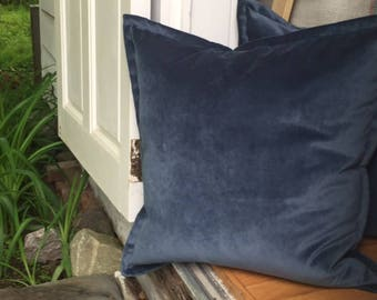 "Atlantic Blue Velvet Throw Pillow Cover 14""x 22"" Luxurious oblong shaped Thick Velvet Throw Pillow with 1"" Flange"