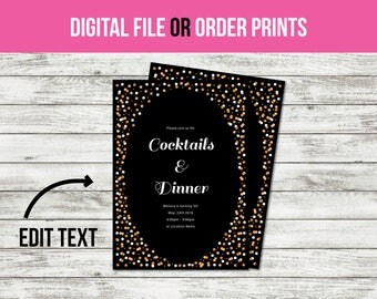 Birthday Invitation, Party Invitation, Adult Birthday, Birthday Invitation for Girls, Birthday Invitations for Women (1014) CUSTOM TEXT!