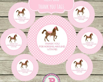 INSTANT Horse Party Circle Stickers Party Labels Favor Tags Treat Bag Birthday Thank You for Horsing Around with me Pony Horseback Riding