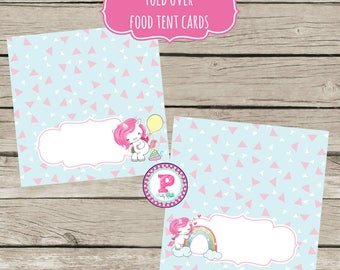 INSTANT Party Pooper Unicorn Food Label Cards Food Tent Cards Rainbow Birthday Instant Download Dessert Buffet Fill In 4x4 inch Fold Over