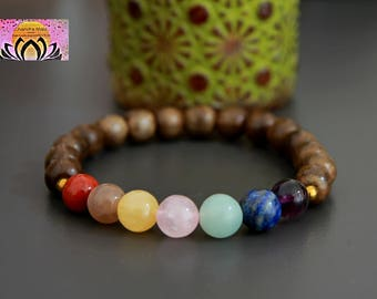 Chakra Bracelet-Wood Hematite-Reiki-Rainbow-Beaded Stretchy Bracelet-Wrist Mala-Yoga Bracelet-Boho Chic Elegant Jewellery-Stacking Layering