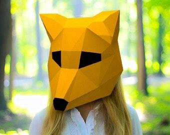 Fox Mask Papercraft PDF DIY Paper Craft She-fox Low Poly Paper Fox Head Tod Mask