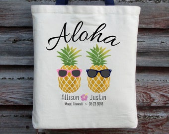 Hawaii Wedding Tote, Aloha Wedding Tote, Pineapple Wedding Tote, Hawaii Wedding Welcome Bag, Hawaii Wedding Guest Bag, Beach Wedding