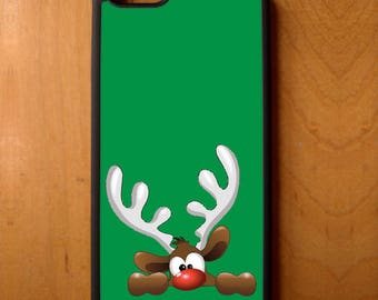 Christmas Rudolph Red Nose Reindeer Phone Case Samsung Galaxy S6 S7 S8 Note Edge Apple iPhone 4 5 5S 5C 6 6S 7 SE Plus + LG G3 skin rubber
