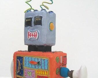 ROBOT sculpture concrete - ask world - collectible - gift