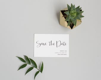 Simple Black and White Save the Date - Modern Minimal Save the Date - Monochrome Wedding Save the Date card