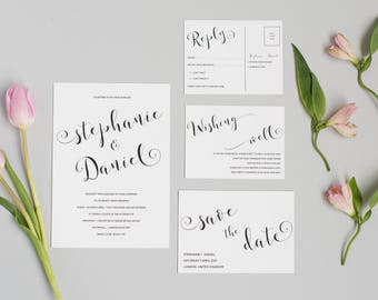 Printable Black and White Calligraphy Wedding Invitation and RSVP card - Elegant Modern Wedding Invite - Printable PDF Template
