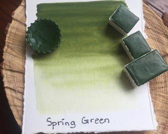 Spring Green. Half pan, full pan or bottle cap of handmade watercolor paint