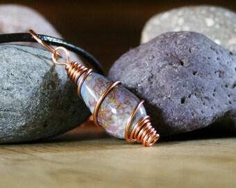 Lampwork pendant, copper necklace, copper pendant, wire wrapped, Scottish, heather, highland, handmade,