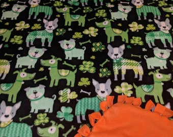 Lucky Irish Dog Printed Fleece Tied Blanket