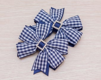 Back to School Navy Gingham Bows - Gingham Pinwheel Bows - School Gingham Dress - Back to School Outfit - Pigtail Bows - Back to School Gift