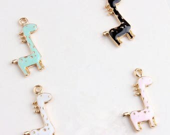 10pcs/lot Golden Lovely Giraffe Charms Pendant Jewelry,Colorful Drop Oil Enamel Animal Deer Charm fit Bracelet Key Chain Diy Accessories