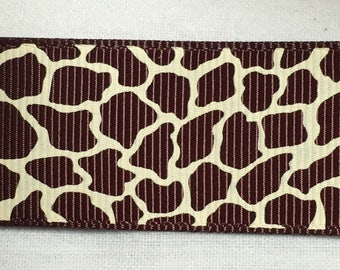 Ribbon wholesale GRAIN leopard Brown and ecru 25 mm