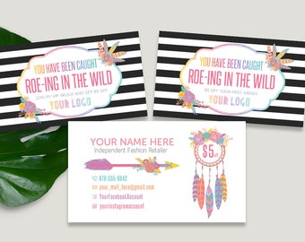 Roe-ing In The Wild Cards, You've Been Caught, Business Card Size, For Fashion Retailers, HO Approved Fonts and Colors, 2 Back Side, Boho