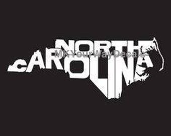 Custom NC Decal, Yeti, Custom Yeti Rambler Decal, Car Decal, North Carolina, NC Sticker, NC Outline Decal