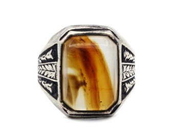 Agate Mens Ring, Antique 1930s Jewelry, Signed Sterling Ring, 925 Silver Band Ring, Bold Large Mens Ring, Ring Size 9, Edwardian Art Deco
