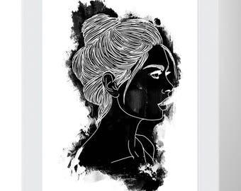 Black and White Female Portrait Wall Art Print