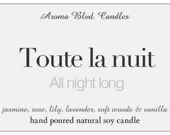 All Natural Soy Candle - French Collection - All Night Long Scent