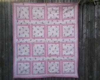 Pink Ballerina Crib Quilt - Baby Shower Gift - Toddler Quilt - Room Decor - Handmade - Girl Quilt - Pink Quilt - Toddler Bed Quilt - Pink