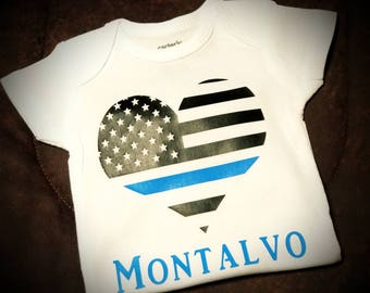 Back The Blue, Police, Law Enforcement, Back The Blue Heart Flag, Police Babies, Unisex Onesie (Bodysuit) or Tee