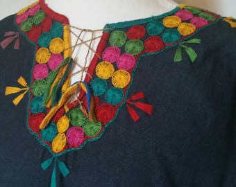 Navy Blue Mexican Embroidered  Blouse Soft Denim