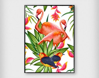 Tropical Illustration Print | Tropical | Red - Green - Pink | Flamingo - Pattern - Poster