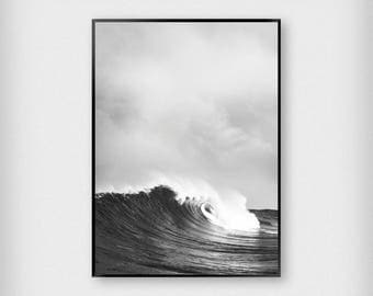 Black Waves Print | Nature | Black - White | Ocean - Sea - Poster