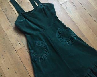 vintage 1970s dress // 70s green corduroy dress