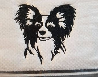 Beautiful embroidered papillon kitchen towel