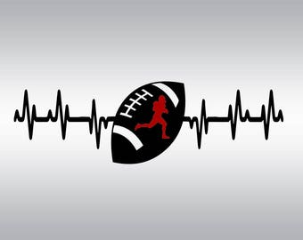 Heartbeat football ball SVG Clipart Cut Files Silhouette Cameo Svg for Cricut and Vinyl File cutting Digital cuts file DXF Png Pdf Eps