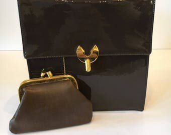 Vintage Brown Patent Koret Handbag with Coin Purse
