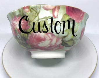 FREE SHIPPING - Cheeky China, CUSTOM Small Floral Rice Bowl // Noodle Bowl // Soup Bowl // Pho