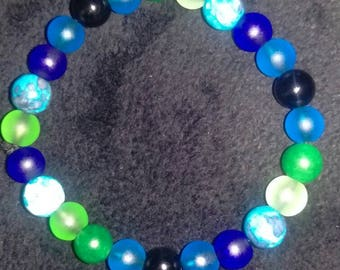 Customized 8mm multicolored bead bracelet.