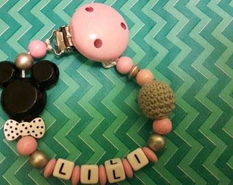 Pink and grey personalized pacifier Mickey