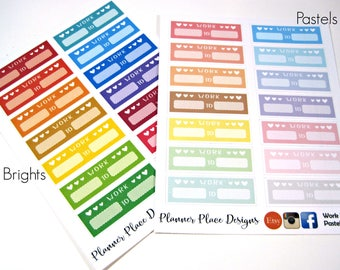Work Hours Planner Stickers - Planner Stickers - Erin Condren Stickers - Happy Planner Stickers - Functional Stickers