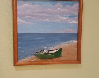 12x 12 framed acrylic painting seaside after fishing